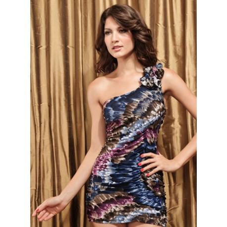 sexy krátké barevné společenské šaty na jedno rameno S-M - Hollywood ... 4afe930231