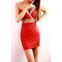 brzy krátké mini červené společenské šaty se zdobením XS