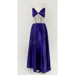 dlouhé zdobené fialové plesové společenské šaty L