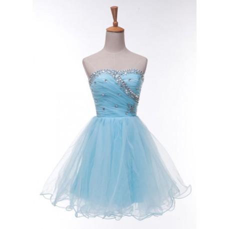 světle modré krátké společenské šaty Melania