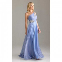 dlouhé antické společenské plesové modré šaty na jedno rameno Donna