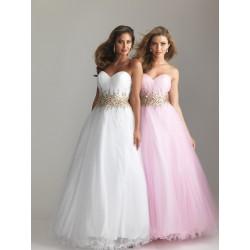 princeznovské plesové maturitní šaty Adele 4 - růžové, bílé, modré