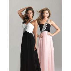 maturitní plesové společenské šaty Adele 6 na jedno rameno - růžovo-černé, modro-černé, bílo-černé
