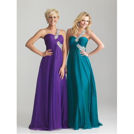 plesové společenské šaty na jedno rameno Adele 8 - oranžové, modré, fialové