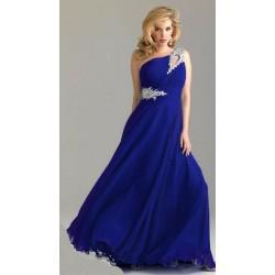 dlouhé antické společenské plesové tmavě modré šaty na jedno rameno Donna XL -XXL a63def16ad6