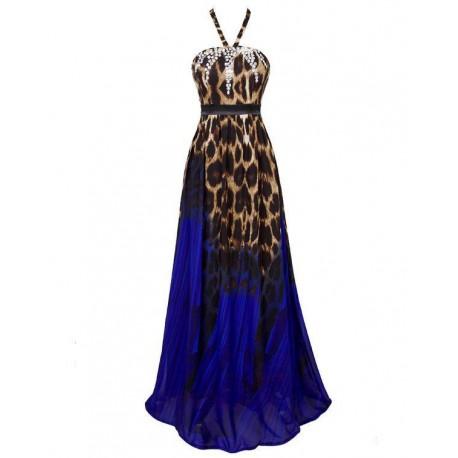 luxusní tygrované modré společenské plesové šaty Exotica S