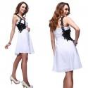 krátké sexy černo-bílé společenské šaty na jedno rameno Remini M
