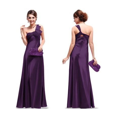 luxusní fialové dlouhé společenské šaty na jedno rameno M