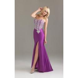 fialové saténové plesové společenské šaty Riza M-L