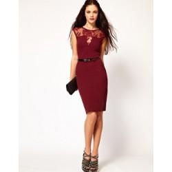 červené krátké společenské šatys krajkou XS