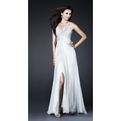 bílé svatební společenské šaty na jedno rameno Lara  L-XL