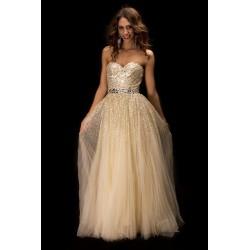 luxusní champagne plesové nebo svatební společenské šaty Cher S-M. SKLADEM 00b03d772dc