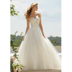 luxusní smetanové svatební šaty Saveria M-L