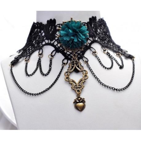 krajkový zelený náhrdelník victorian goth