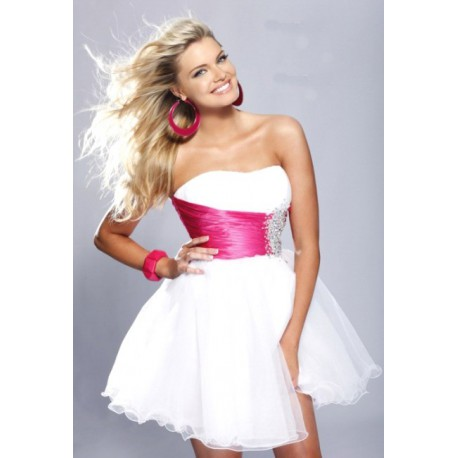 společenské šaty do tanečních SKLADEM růžovo-bílé