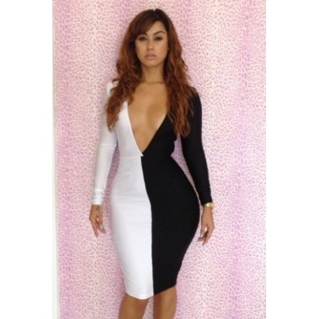 černo-bílé společenské šaty sexy Rena S