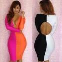růžovo-oranžové společenské šaty sexy Rena M-L