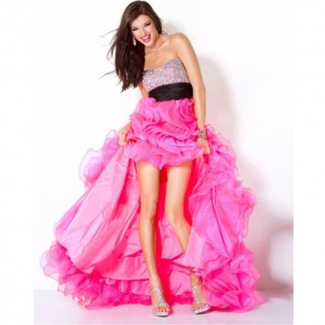 luxusní plesové růžové společenské šaty ve předu krátké XS-S
