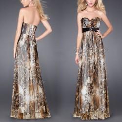 sexy leopardí dlouhé společenské hnědé šaty Valencia S-M