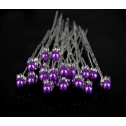 fialové perličkové pinetky do společenského účesu