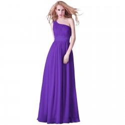 fialové společenské šaty dlouhé na jedno rameno Lora M