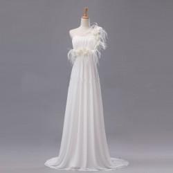 antické smetanové svatební šaty Elena na jedno rameno S-M