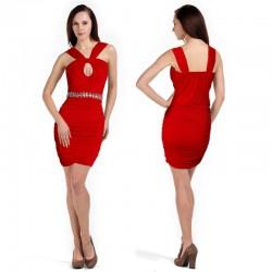 sexy červené krátké společenské šaty XS-S