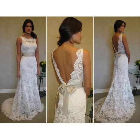 luxusní svatební krajkované bílé šaty Veronica M