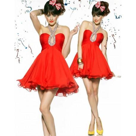 Bobby červené krátké společenské šaty S, M a L