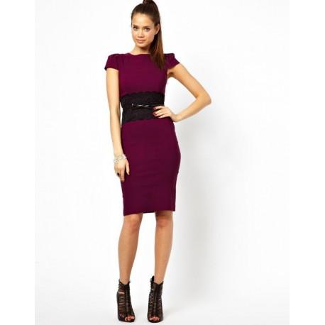 fialové pouzdrové společenské šaty Bibbi M-L