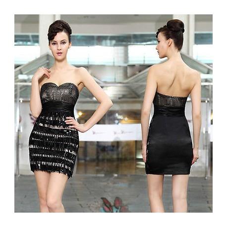 krátké černé flitrované společenské šaty Emiza XS a M
