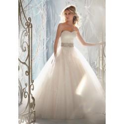 luxusní svatební šaty krémové Rebecca M