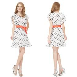retro 50's puntíkaté krátké společenské šaty černo-bílé Sandra S