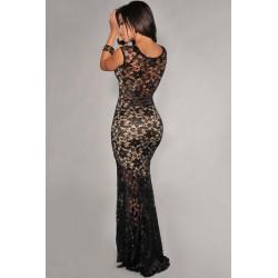 sexy krajkované černé společenské plesové šaty Lejla S-M