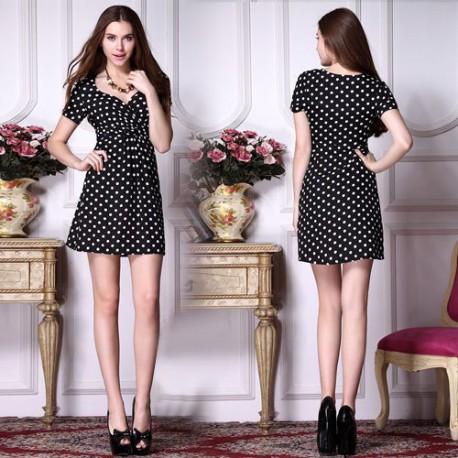 krátké retro 50's černé puntíkaté společenské šaty S, M a L