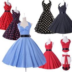 krátké retro puntíkaté barevné společenské nebo letní šaty Greta - výběr barev