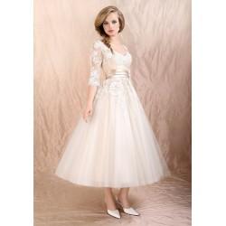 dlouhé svatební společenské bílé šaty s krajkou Veronica S-M