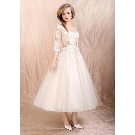 1ef1dd8208c dlouhé svatební společenské bílé šaty s krajkou Veronica S-M ...