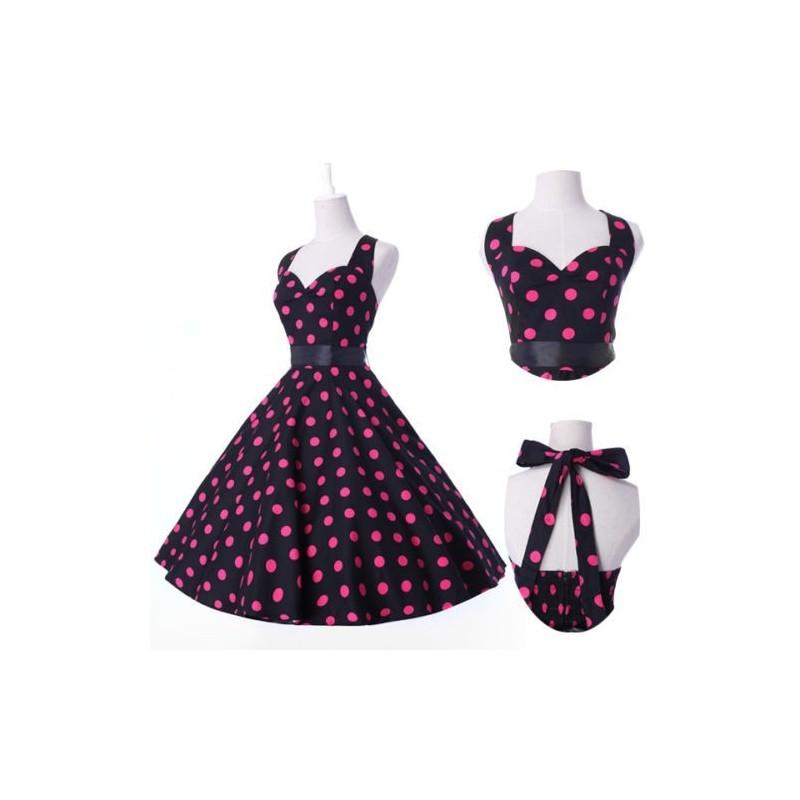 krátké retro puntíkaté barevné společenské nebo letní šaty Greta -  černo-růžové dd6f380bcf
