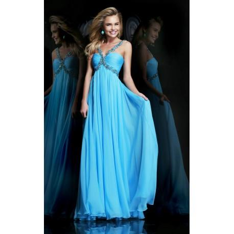 luxusní světle modré společenské plesové šaty na maturitní ples Lorey S-M 0ab6c34ef4