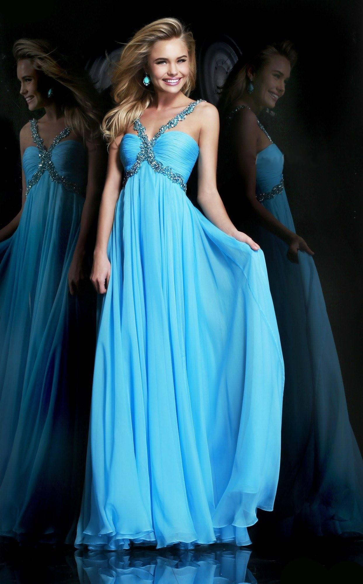 luxusní světle modré společenské plesové šaty na maturitní ples Lorey S-M -  Hollywood Style E-Shop - plesové a svatební šaty 7123a7e0ca
