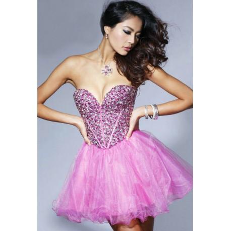 světle růžové krátké společenské plesové šaty Vogue XS-M