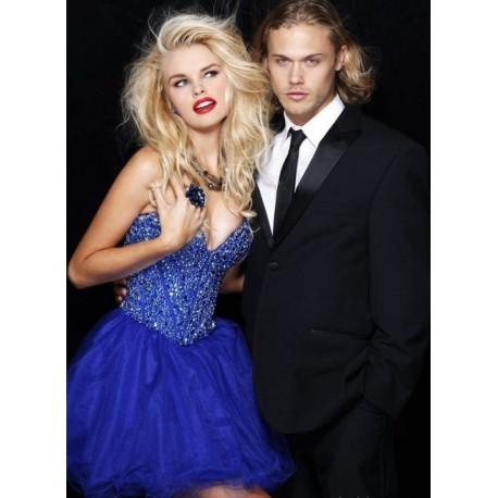 tmavě modré krátké společenské plesové šaty Vogue S-L