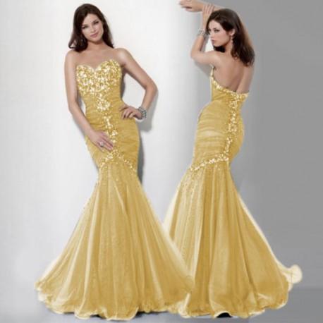 Výprodej! luxusní žluté plesové společenské šaty mořská panna Mandy XS-M c41a6725a25