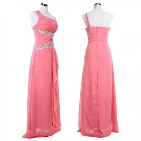 melounové růžové plesové společenské šaty Tory S-M