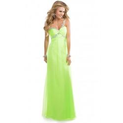 plesové světle zelené dlouhé šaty na jedno rameno Beata S-M