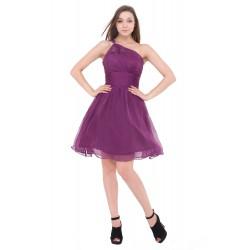 krátké fialové společenské šaty na jedno rameno Petrona S-M
