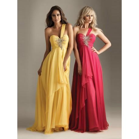 bf9a441a7b5b antické plesové společenské žluté šaty na jedno rameno Emily S-M ...