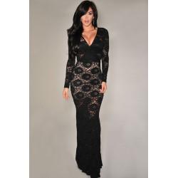 dlouhé černé společenské krajkované šaty Eliza S-M