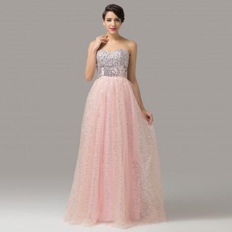 luxusní plesové růžové šaty Cher flitrované XS-S